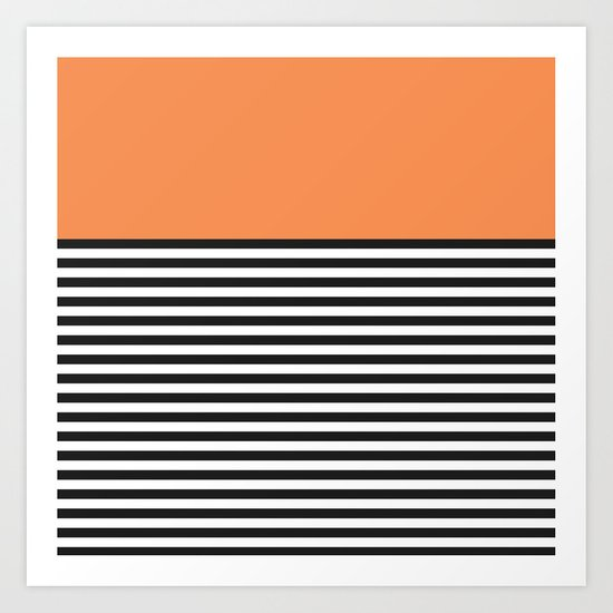 STRIPE COLORBLOCK {ORANGE} Art Print