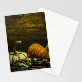 October Pumpkin, Gourd, Indian Corn Scene Stationery Cards