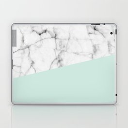 Real White marble Half pastel Mint Green Laptop & iPad Skin