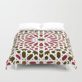 -A1- Red Traditional Moroccan Zellij Artwork. Duvet Cover