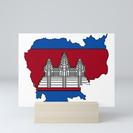 Cambodia Map with Cambodian Flag Mini Art Print