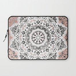 Dreamer Mandala White On Rose Gold Laptop Sleeve
