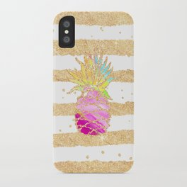 Modern pink watercolor pineapple faux gold glitter stripes iPhone Case