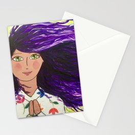 Purple haired prayer girl. Stationery Cards