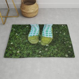 Shamrock Socks in a Green Clover Field Rug