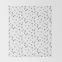 Dalmatian Polka Dots - White/Black Throw Blanket