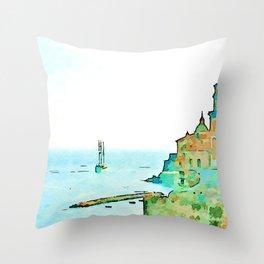 Sailboat at anchor in front of the Atrani sea Throw Pillow