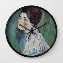 Stolen Art - Portrait of a Lady by Gustav Klimt Wall Clock