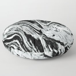 marble black and white minimal suminagashi japanese spilled ink abstract art Floor Pillow