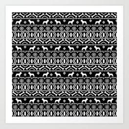 Boston Terrier fair isle dog pattern silhouette christmas sweater black and white Art Print