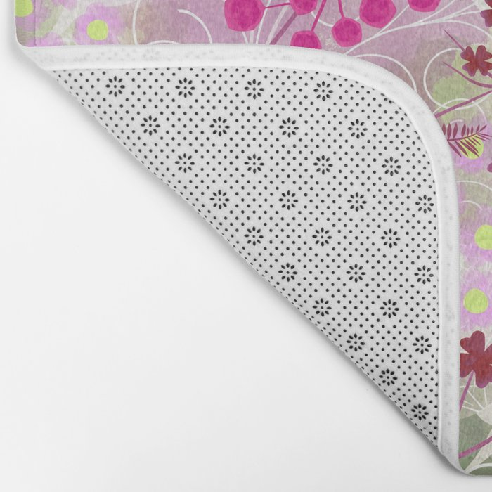 bright floral pattern ,watercolor background. Bath Mat