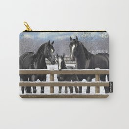 Black Quarter Horses In Snow Carry-All Pouch