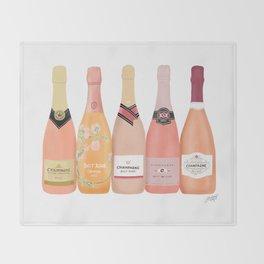 Rose Champagne Bottles Throw Blanket