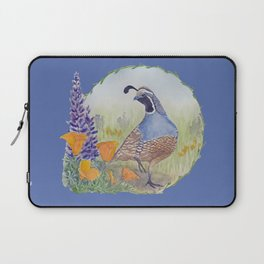 California Quail with Poppies and Lupine on Blue Laptop Sleeve