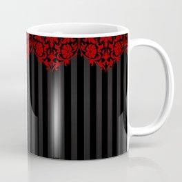 Beautiful Red Damask Lace and Black Stripes Coffee Mug