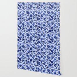 Azulejos blue floral pattern Wallpaper