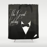 gatsby Shower Curtains featuring The Great Gatsby 2 by Erica Chase