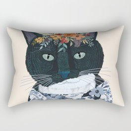 Black and White cat with flower crown Rectangular Pillow