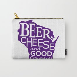 Purple and White Beer, Cheese and Good Company Wisconsin Graphic Carry-All Pouch