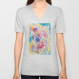 Meadow painting, floral pattern, flowers Unisex V-Neck