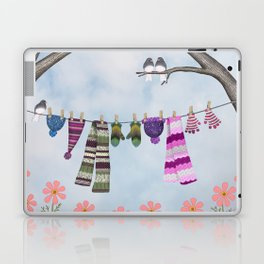 winter's over clothesline with juncos Laptop & iPad Skin
