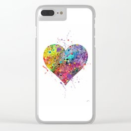 Heart Watercolor Art Print Love Home Decor Valentine's Day Wedding or Engagement Gift Clear iPhone Case