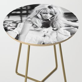 Brigitte Bardot Playing Cards, Black and White Photograph Side Table