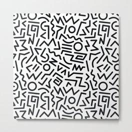 Black and White Memphis Design Metal Print
