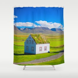 Traditional icelandic timber house Shower Curtain