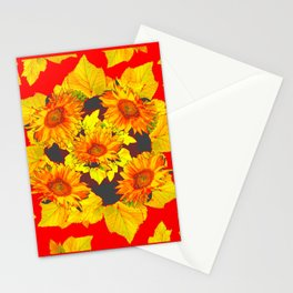 Red & Gold Leaves Sunflowers Pattern Art Stationery Cards