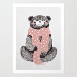 OSO, the bear with the big scarf.  Art Print