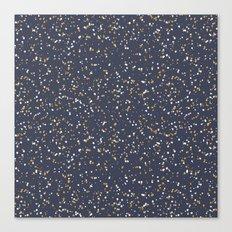 Speckles I: Dark Gold & Snow on Blue Vortex Canvas Print