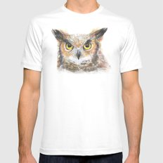 Great Horned Owl Watercolor Mens Fitted Tee MEDIUM White