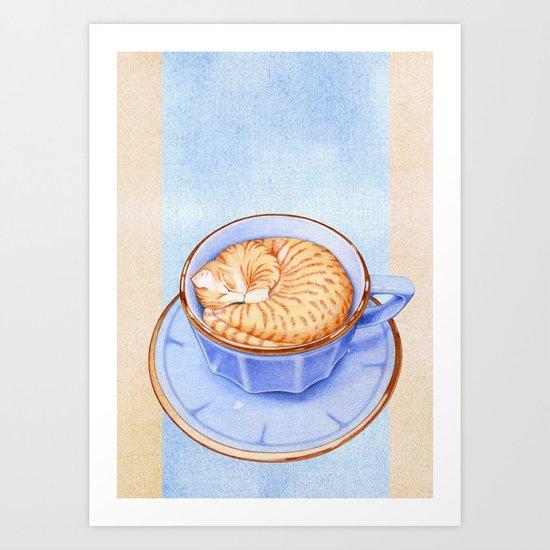 Cat in Coffee Art Print