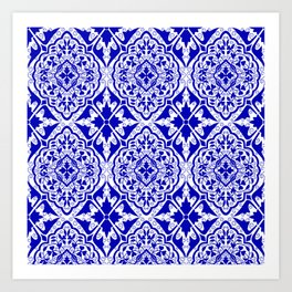 BOHEMIAN PALACE, ORNATE DAMASK: BLUE and WHITE Art Print