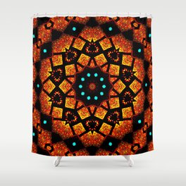 Bright Red Orange Mosaic Kaleidoscope Mandala Shower Curtain