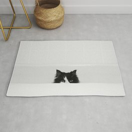 Water Please - Black and White Cat in Bathtub Rug