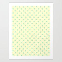 Magic Mint Green on Cream Yellow Stars Art Print