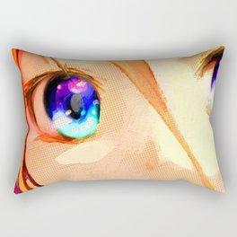 Anime Girl Eyes Gold Rectangular Pillow