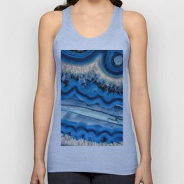 Blue agate slice wave Unisex Tank Top