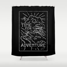 TIME FOR ADVENTURE (BW) Shower Curtain