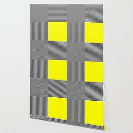 Geometric abstraction: black and white stripes, yellow square Wallpaper