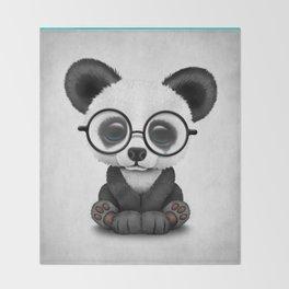 Cute Panda Bear Cub with Eye Glasses Throw Blanket