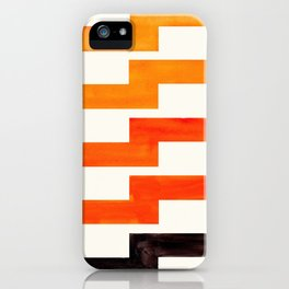 Orange & Black Geometric Minimal Mid Century Modern Lightning Bolt Pattern Watercolor Art iPhone Case