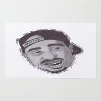 "tupac Area & Throw Rugs featuring Tupac ''State Of Mind"" by SkilledCreativity"