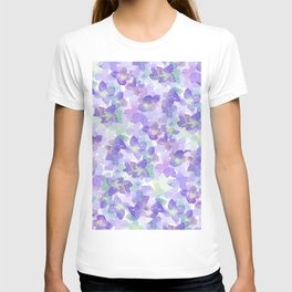 Hand painted watercolor violet lilac lavender green floral T-shirt