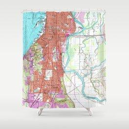 Vintage Map of Everett Washington (1953) Shower Curtain