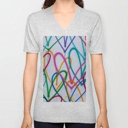 Multicoloured Love Hearts Graffiti Repeat Pattern Unisex V-Neck