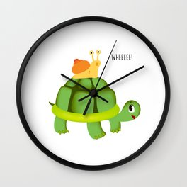 Cute Snail Riding on Turtle Yelling Whee Animals Wall Clock