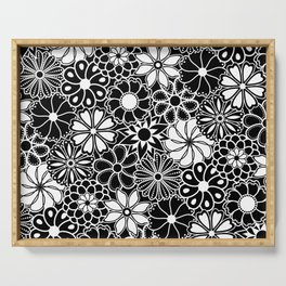 Mid Century Hawaiian Flower Print - Black and White Serving Tray